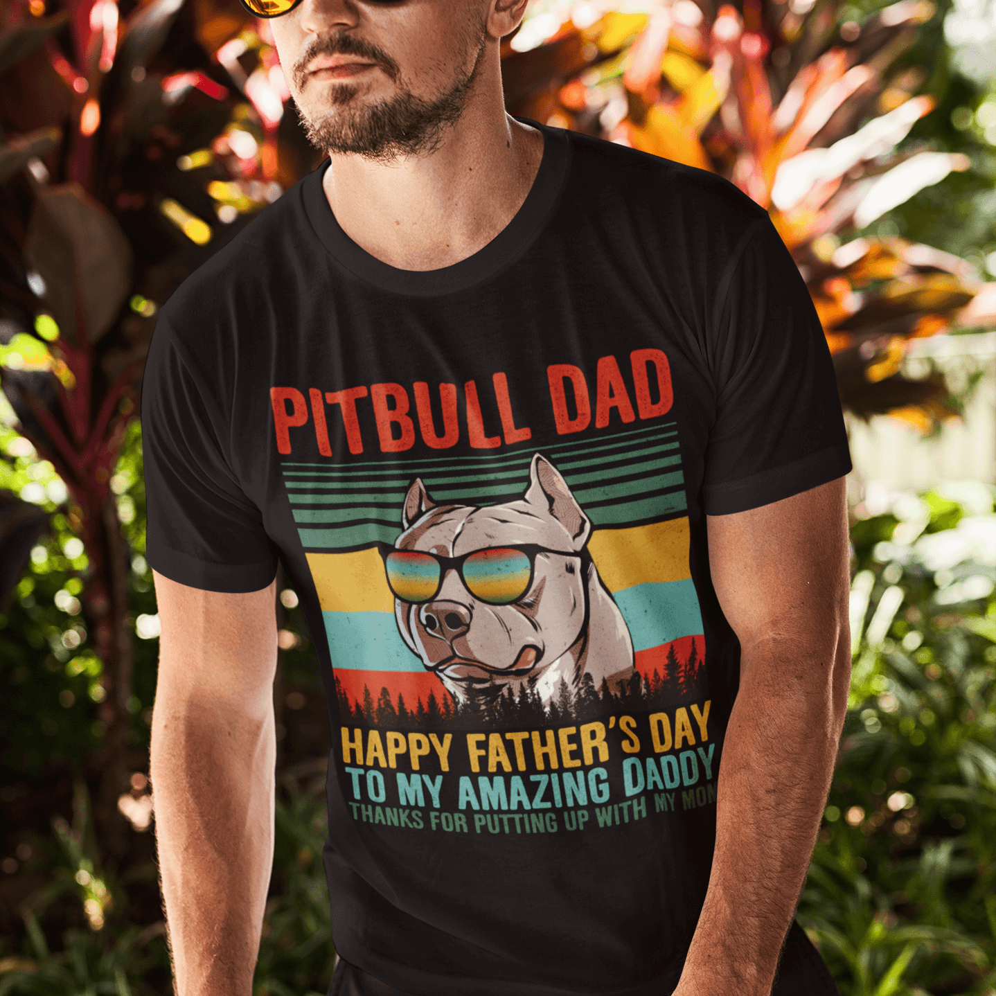 Pitbull Dad Happy Father Day To My Amazing Daddy T Shirt