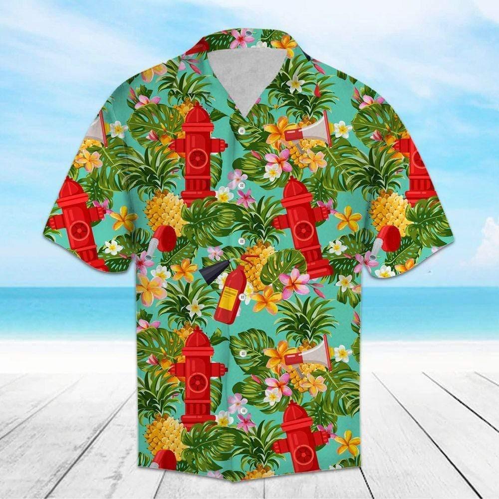 Firefighter Pineapple Tropical Hawaiian Shirts
