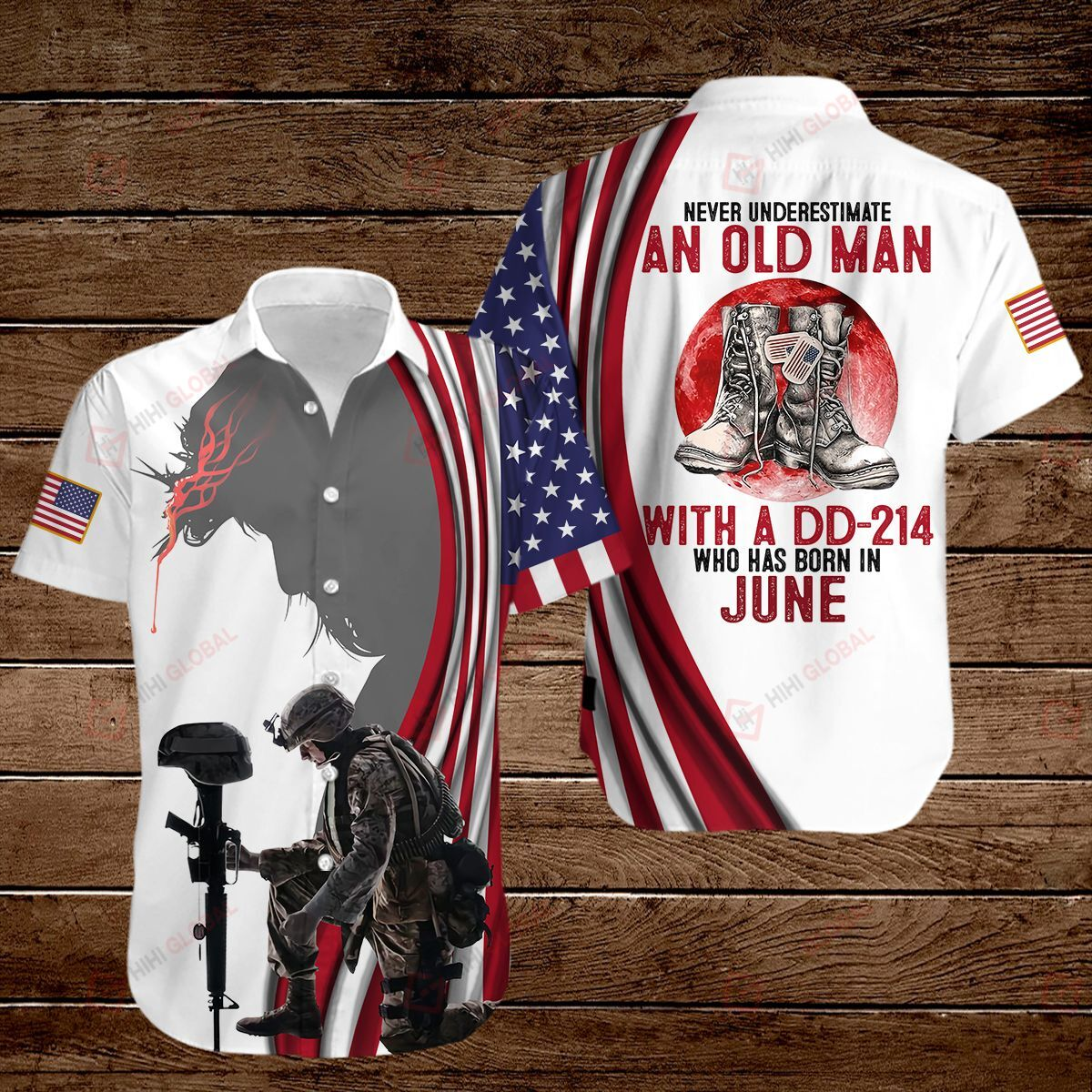 Personalized Birth Month Never underestimate an old man with a DD-214 All Over Printed 3D Shirt