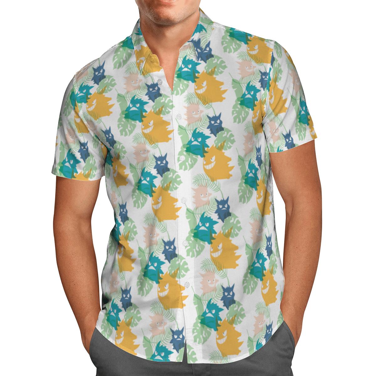 Pokemon Gengar Hawaiian Shirt and Beach Shorts