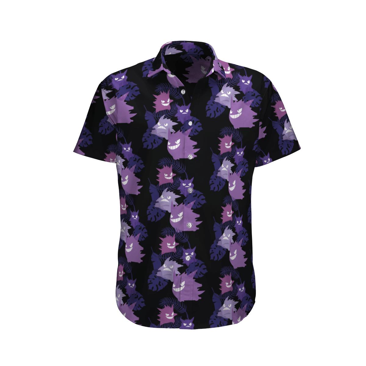 Black Gengar Ghost pokemon Hawaiian Shirt and Beach Shorts