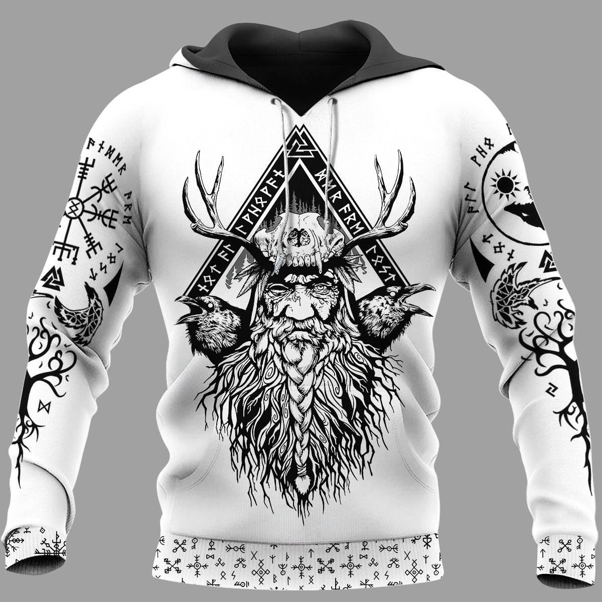 Odin Raven And Yggdrasil Viking Hoodie 3D