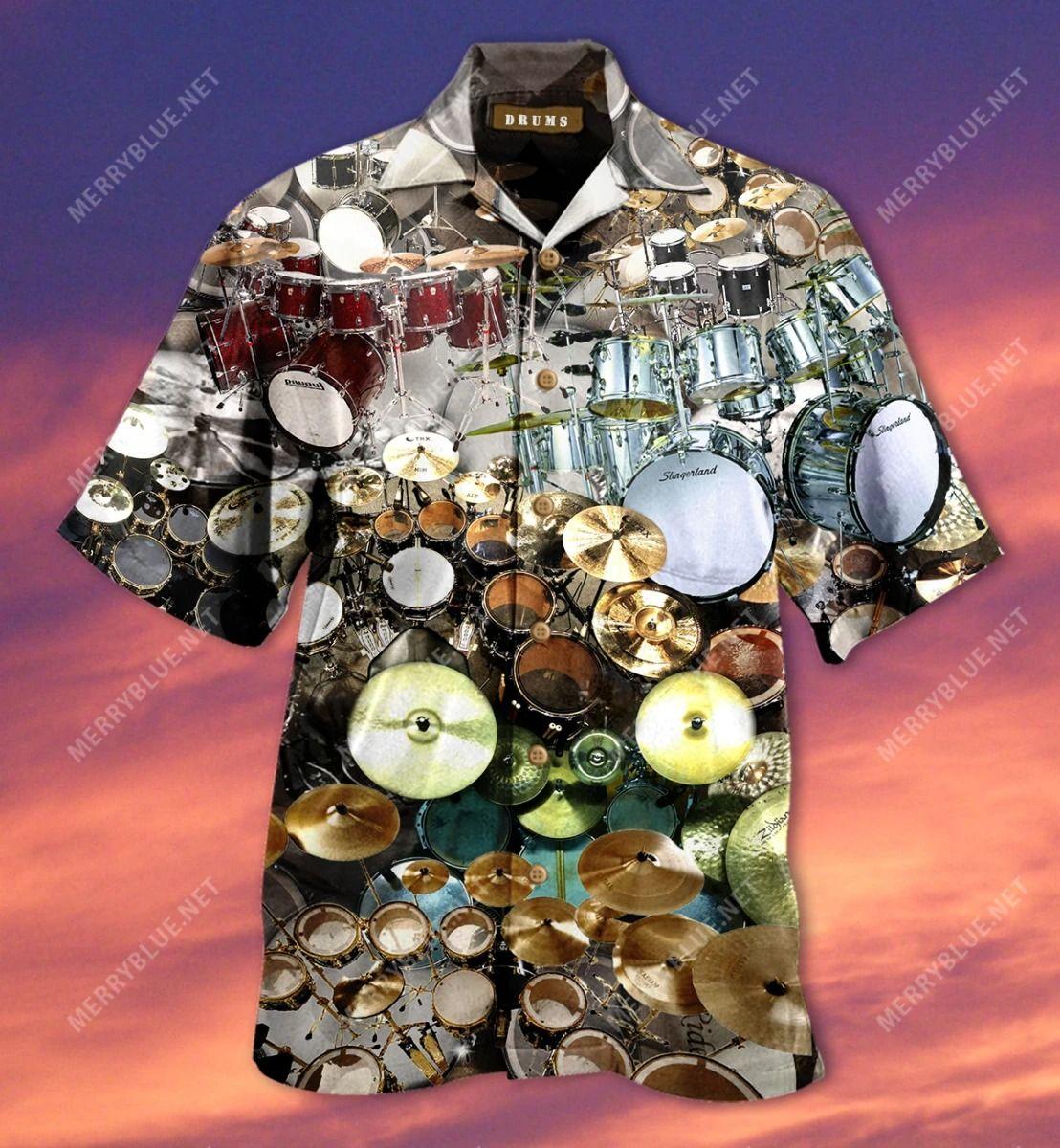 Without Me You'D Have No Beat Drum Kit Hawaiian Shirt