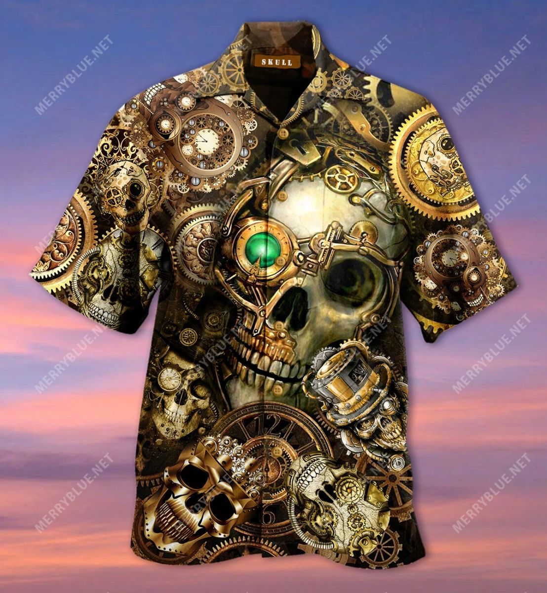 Amazing Steampunk Skull Hawaiian Shirt