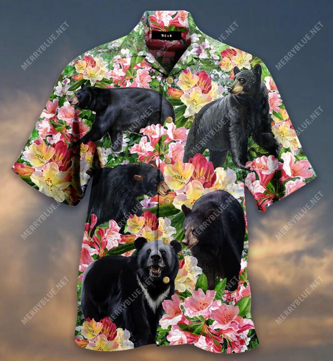 Black Bear Blossom Garden Hawaiian Shirt