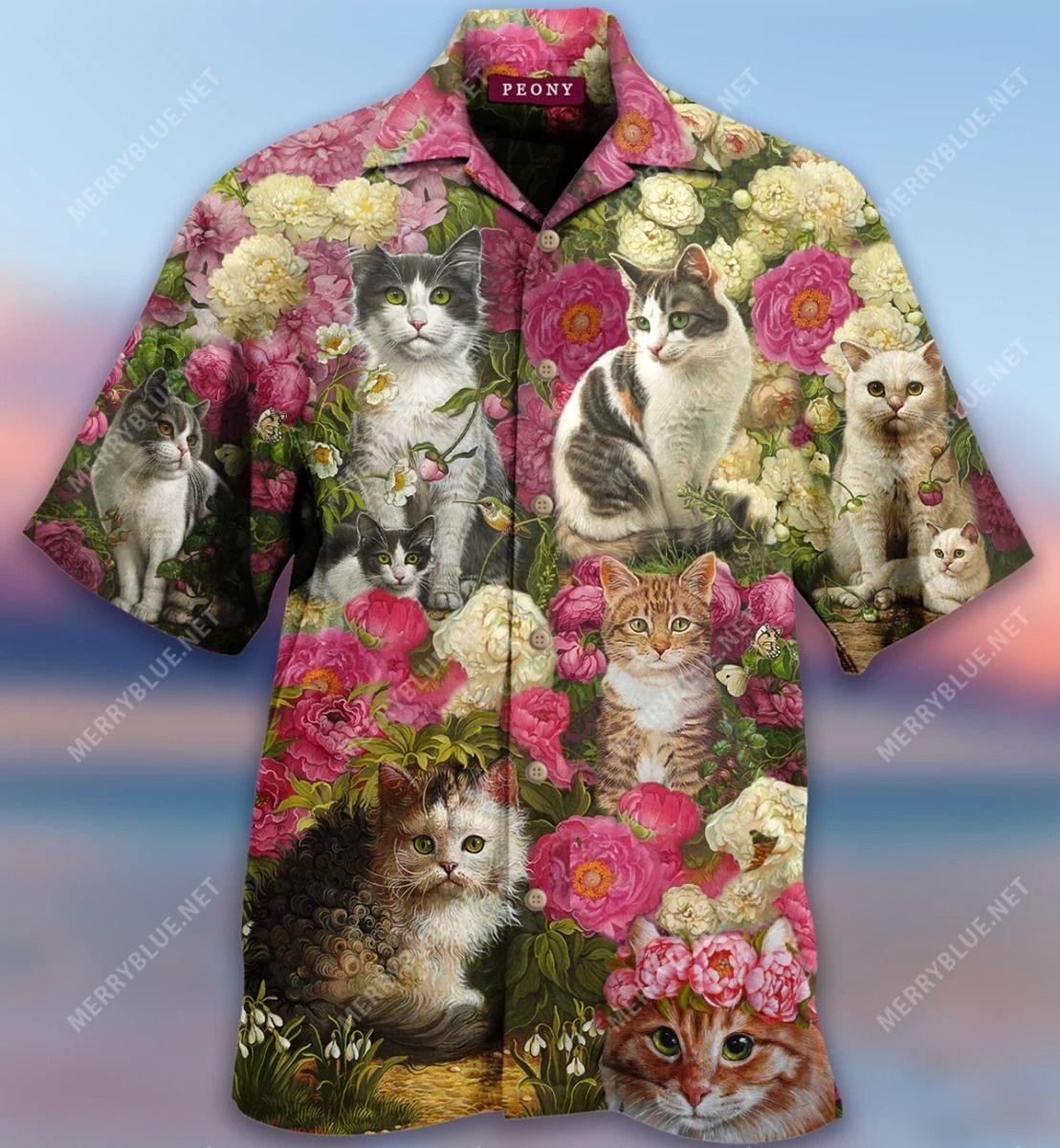 Cats In Peony Garden Hawaiian Shirt