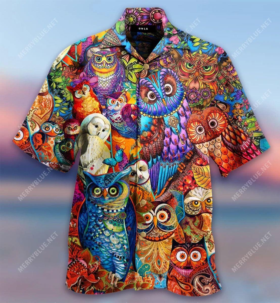 Colorful Owl Hawaiian Shirt