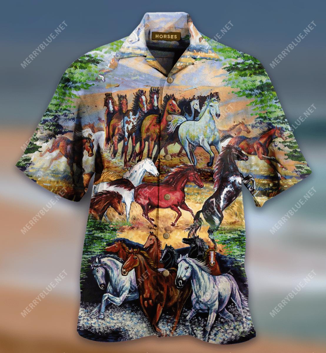 Awesome Wild Horses Hawaiian Shirt