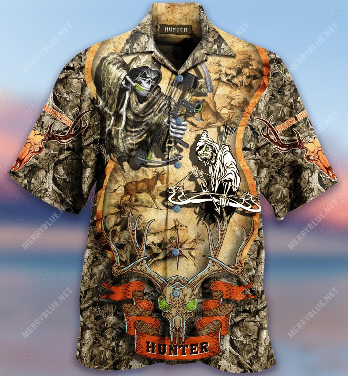 Deer Hunting Skull Hawaiian Shirt
