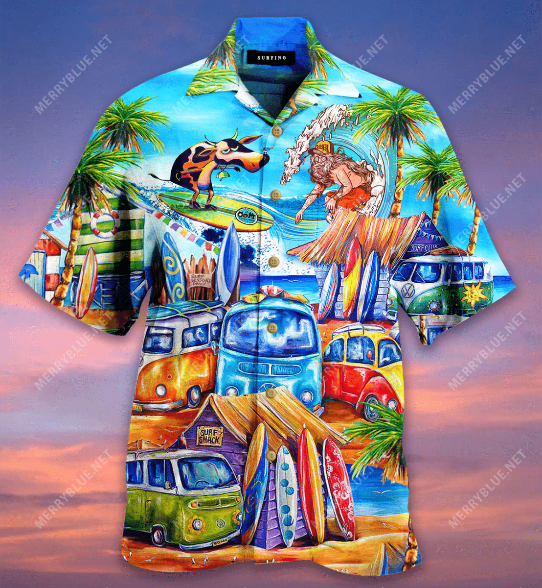Its Summer Time Lets go Cow Surfing Hawaiian Shirt