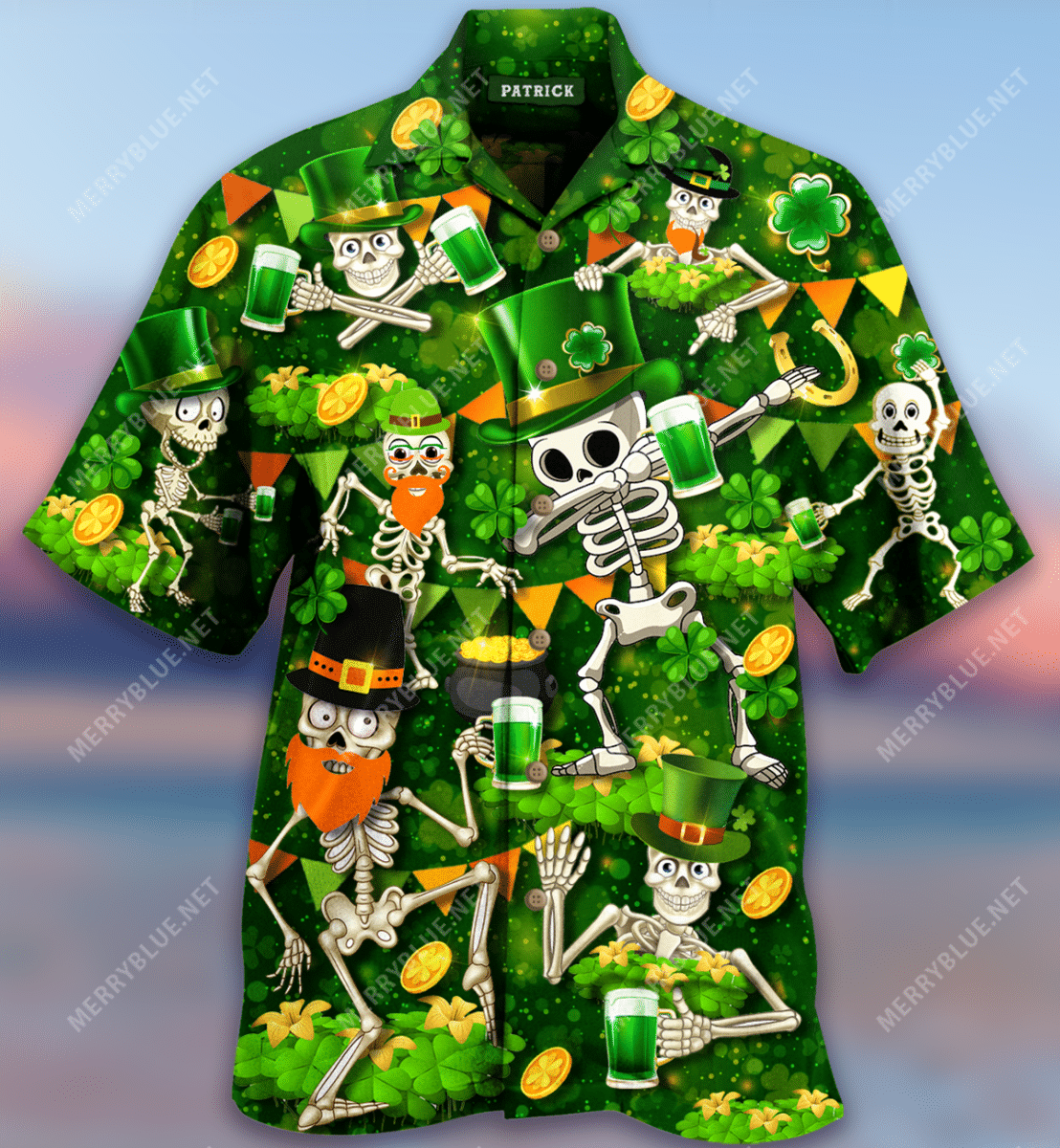 Lets Get Drunk Skull Saint Patrick Hawaiian Shirt