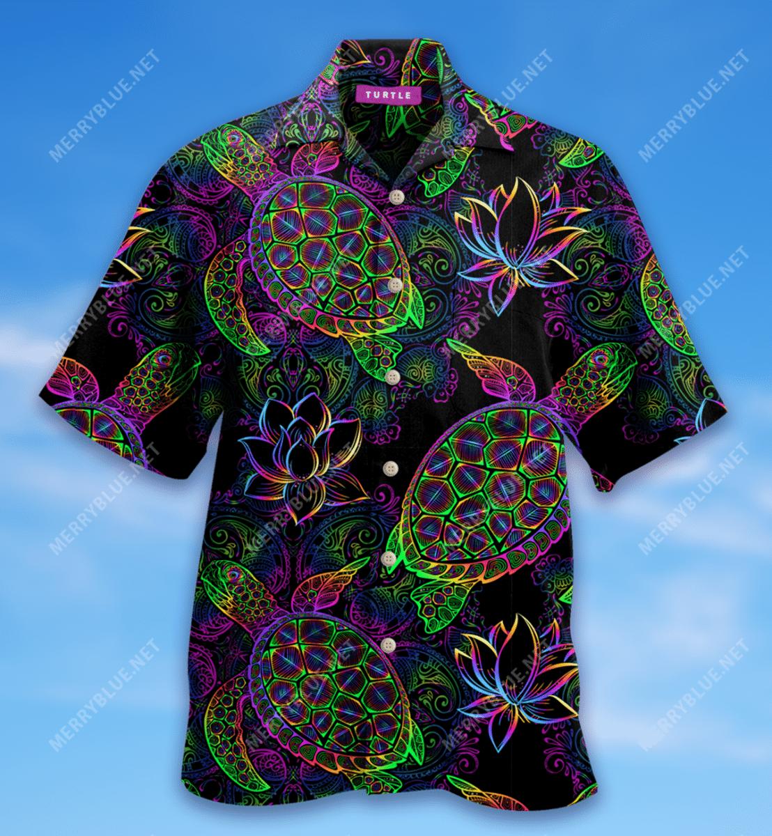 Mandala Turtle Lotus flower Hawaiian Shirt