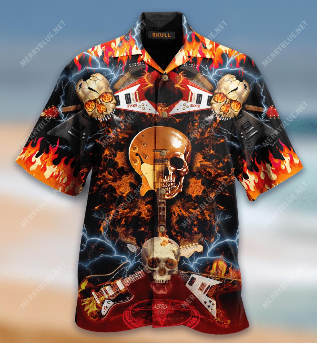Skull Rock N Roll Hawaiian Shirt