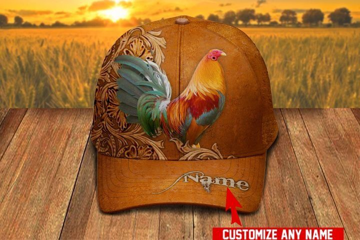 Love Rooster Custom Name Hawaiian Cap