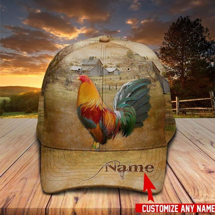 Love Rooster in Farm Personalized Name Hawaiian Cap