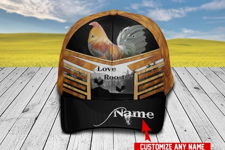 Love Rooster Personalized Name Hawaiian Cap