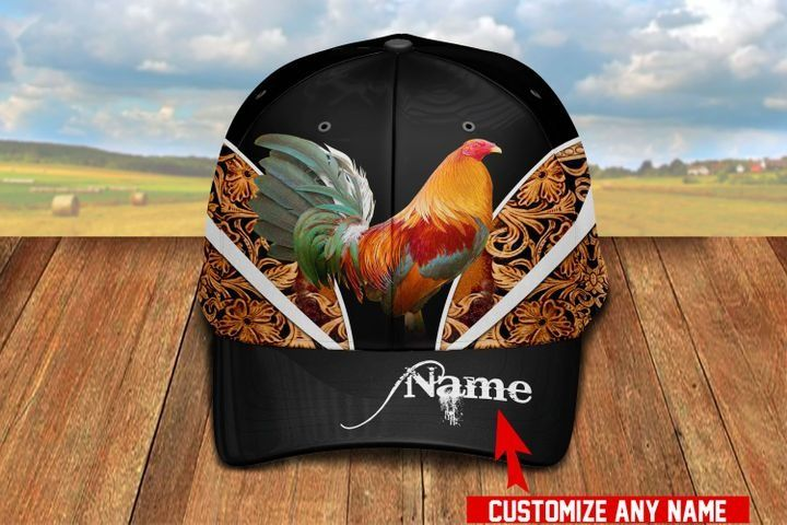 Love Rooster Personalized Name Hawaiian Black Cap