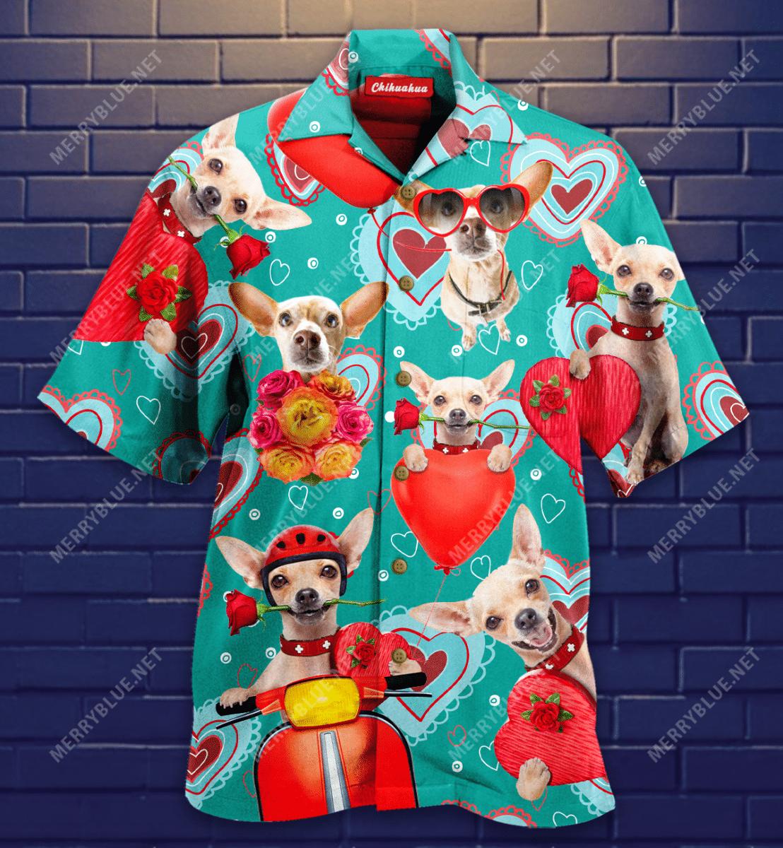 Chihuahua Happy Valentines Day Hawaiian Shirt
