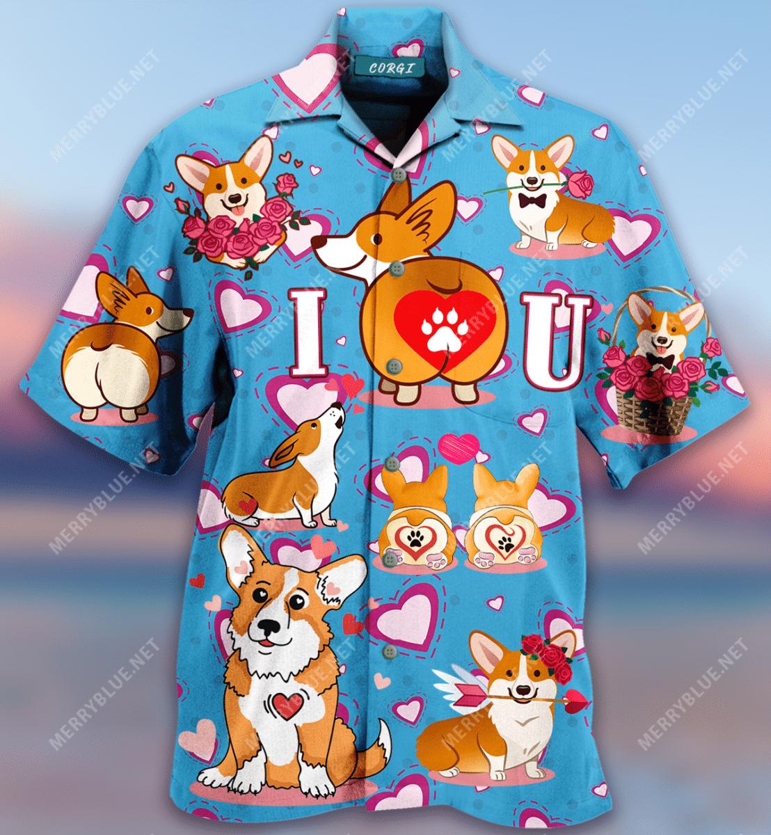 Corgi Happy Valentines Day Hawaiian Shirt
