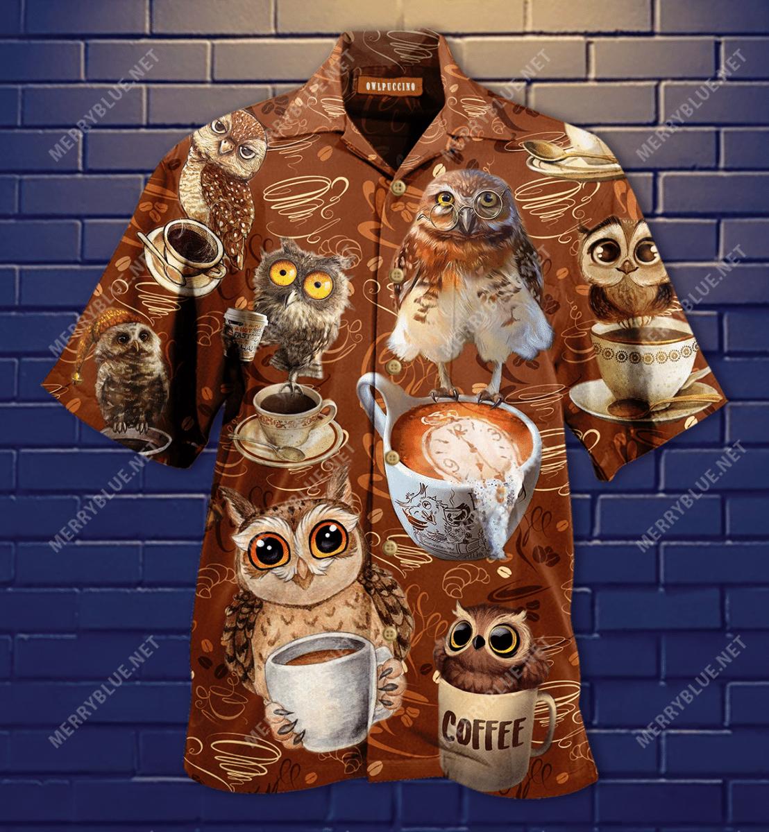 I Run On Coffee Owl Funny Hawaiian Shirt