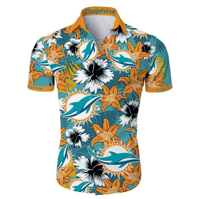 Miami Dolphins Hawaiian Shirt Tropical Flower Summer Shirt
