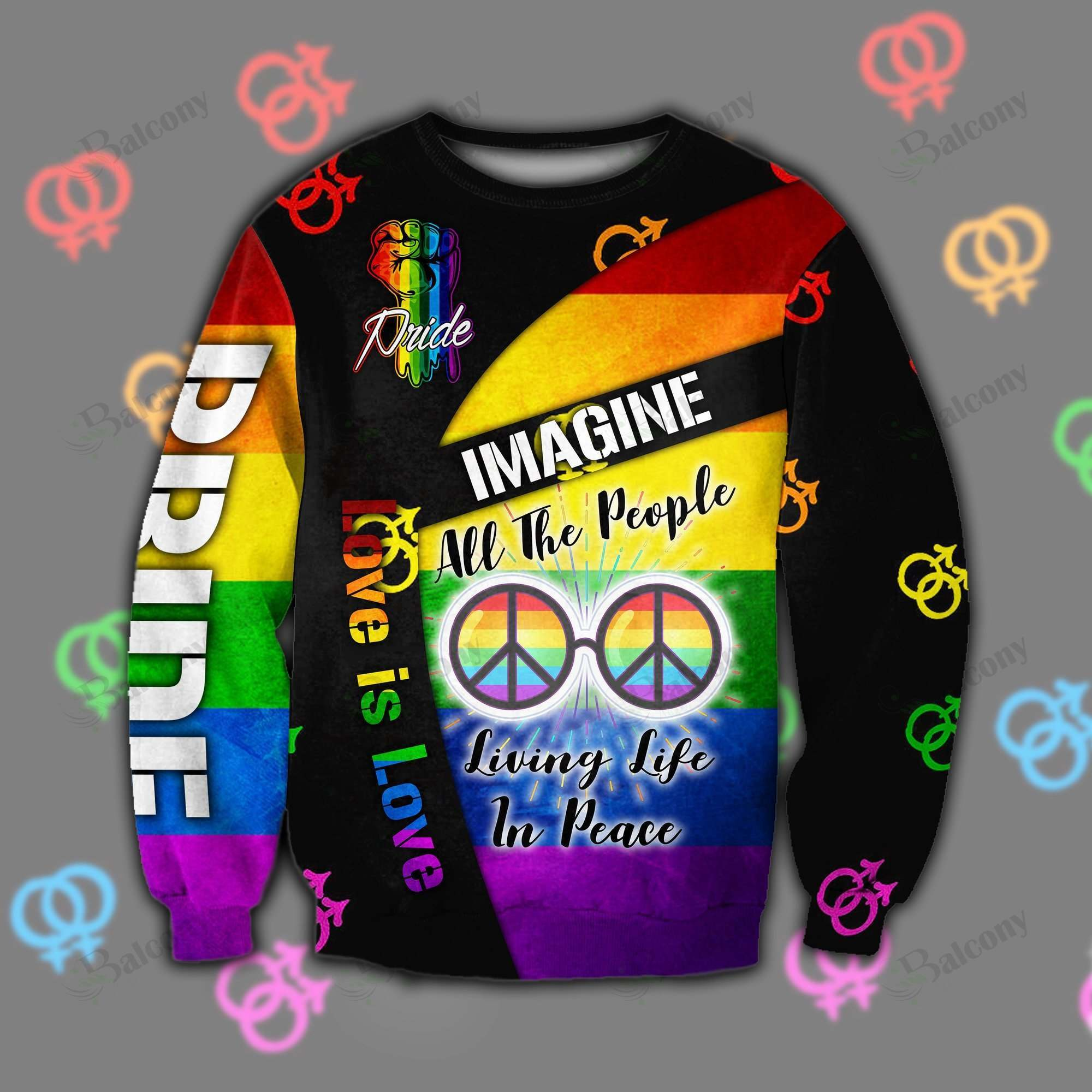 LGBT Imagine all the people living life in peace Love is love SWEATER