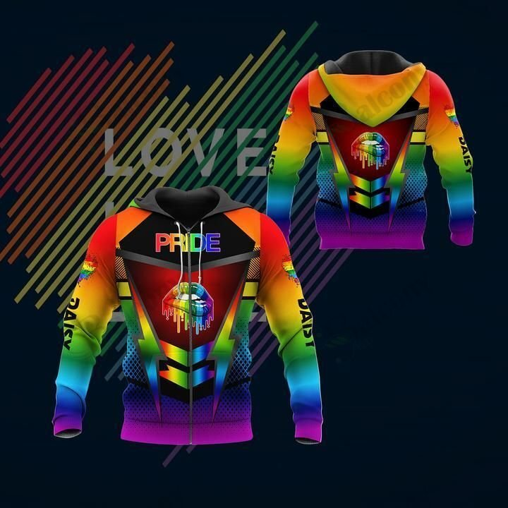 LGBT Lightning Lip lick Pride Hoodie 3D Custom Name