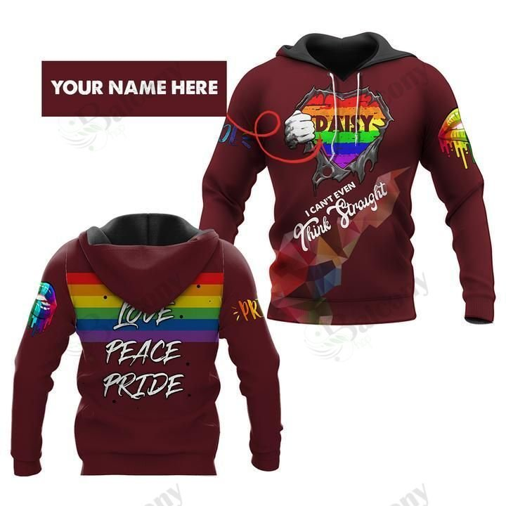 LGBT Love peace Pride I cant think straight hoodie 3D