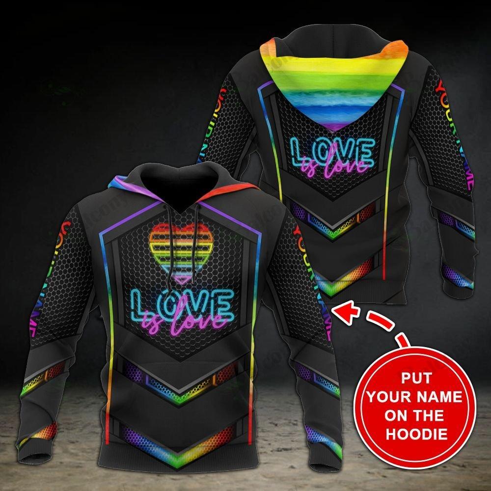 LGBT Love is love Light Black Pattern 3D Hoodie