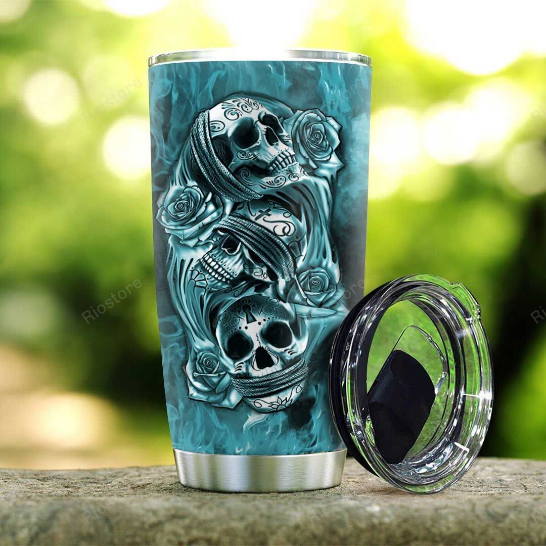 3D Colorful Native Skull Personalized Stainless Steel Tumbler