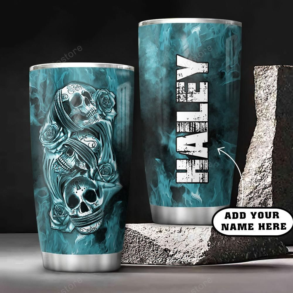 3D Picture Blue Skull Personalized Stainless Steel Tumbler
