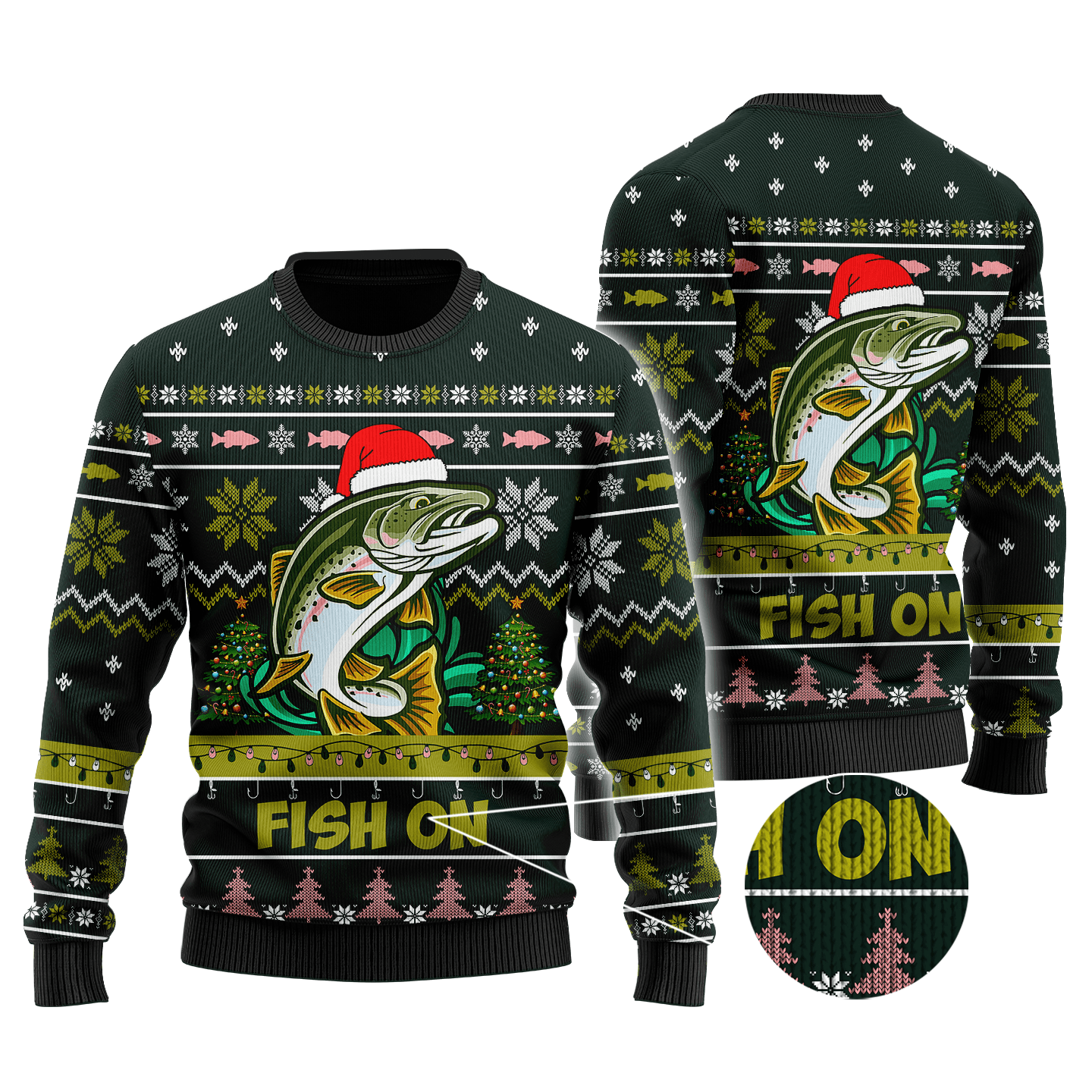 Trout Fishing Fish on Christmas Hat Knitted Sweater