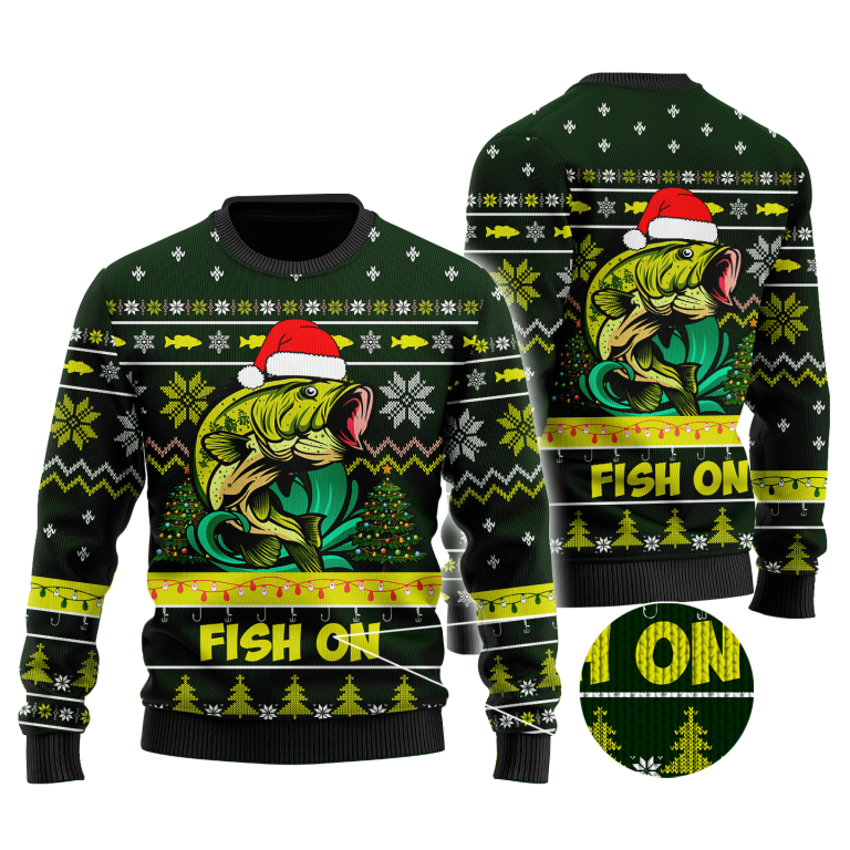 Bass Fishing Fish on Christmas Hat Knitted Sweater