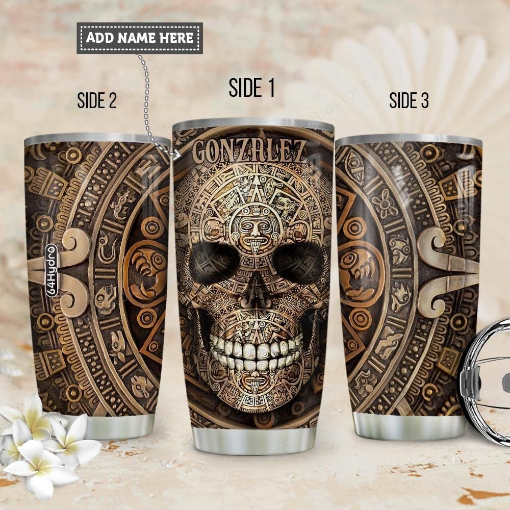 Custom Name Aztec Skull tumbler