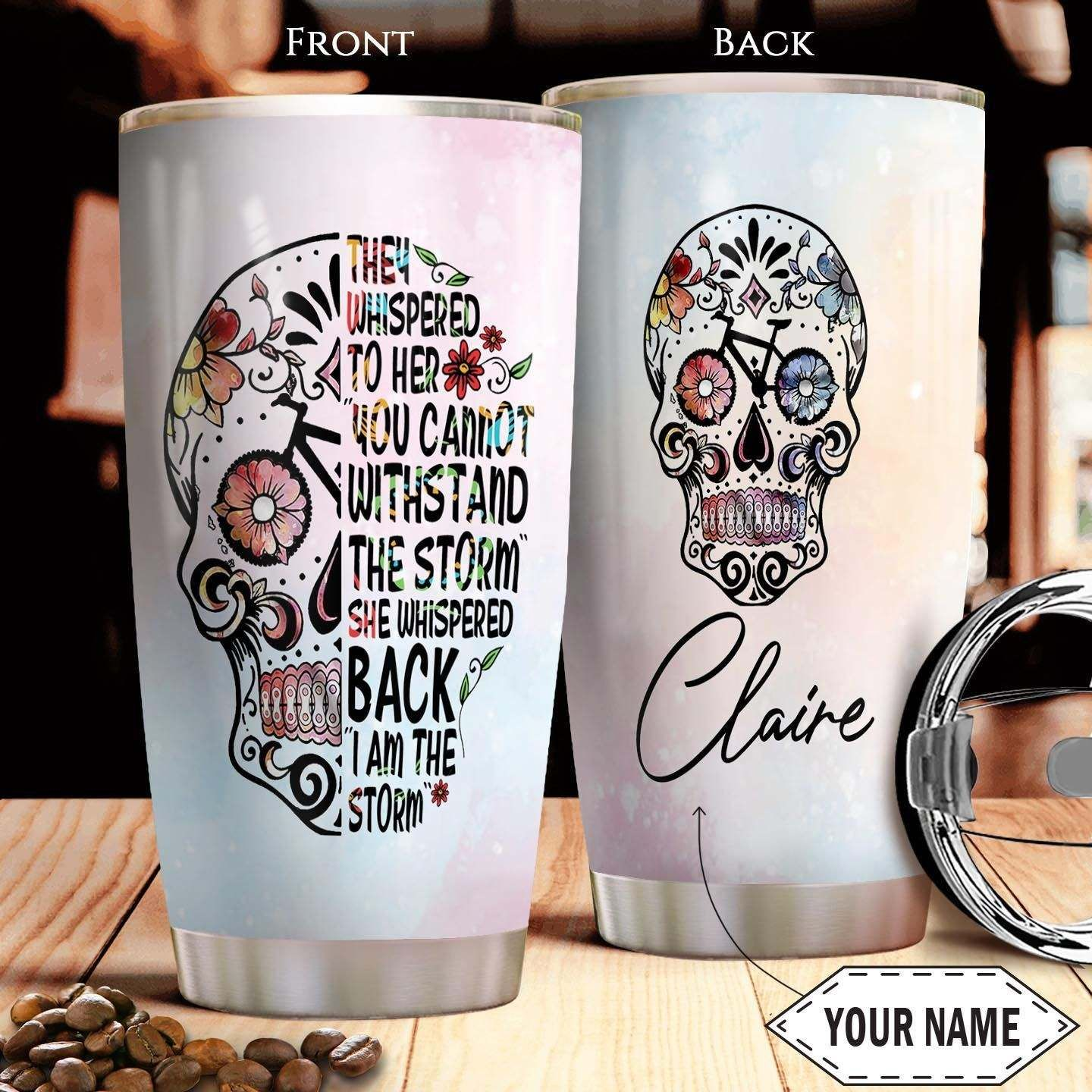 Personalized Bicycle flower Skull I am the Storm Tumbler