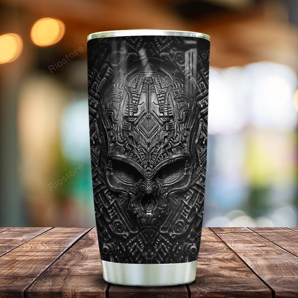 Black metal mechanical skull tumbler cup