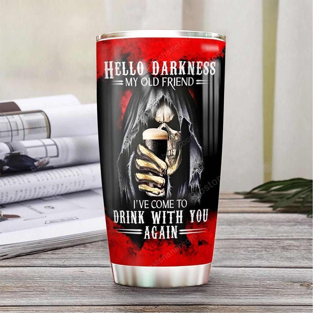 Personalized Beer Skull Hello Darkness Stainless Steel Tumbler