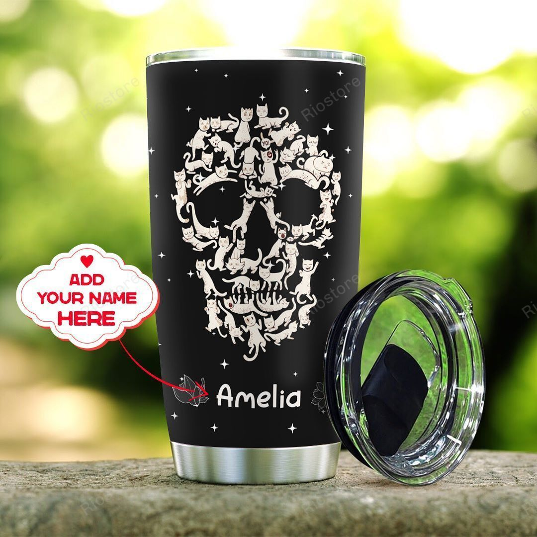 Personalized cats flower skull tumbler cup
