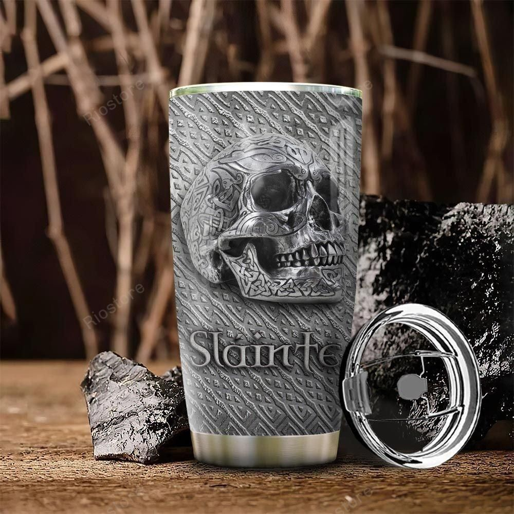Personalized Celtic Steel Metal Skull Tumbler cup
