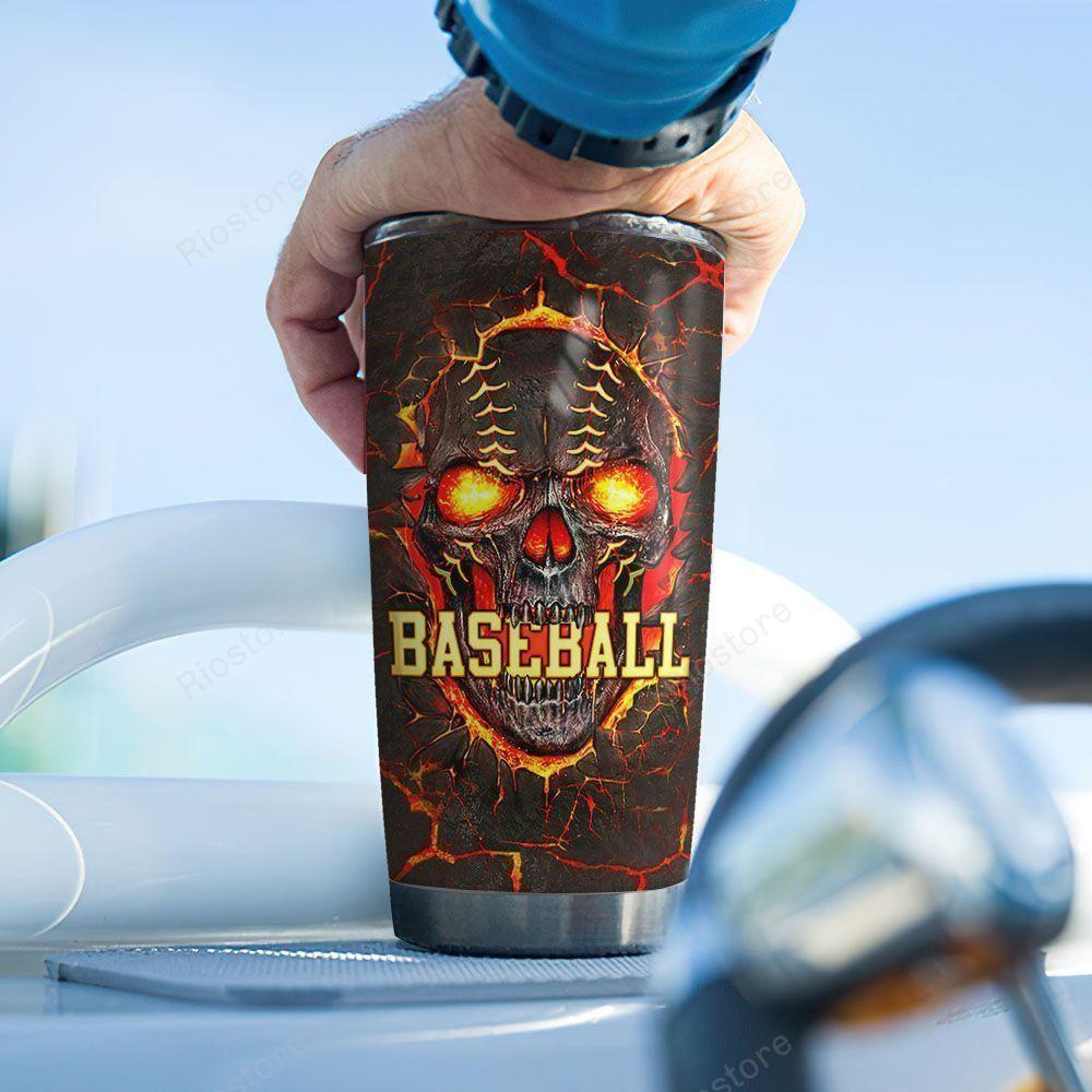 Personalized Baseball Skull Lava Stainless Steel Tumbler