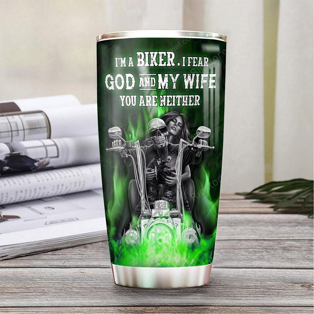 Personalized motorcycle couple Skull green fire Tumbler
