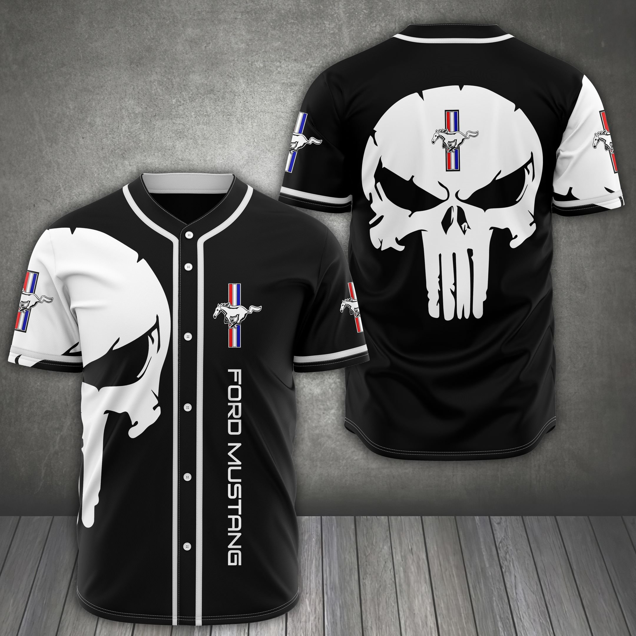 Ford Mustang skull black Baseball Jersey Shirt