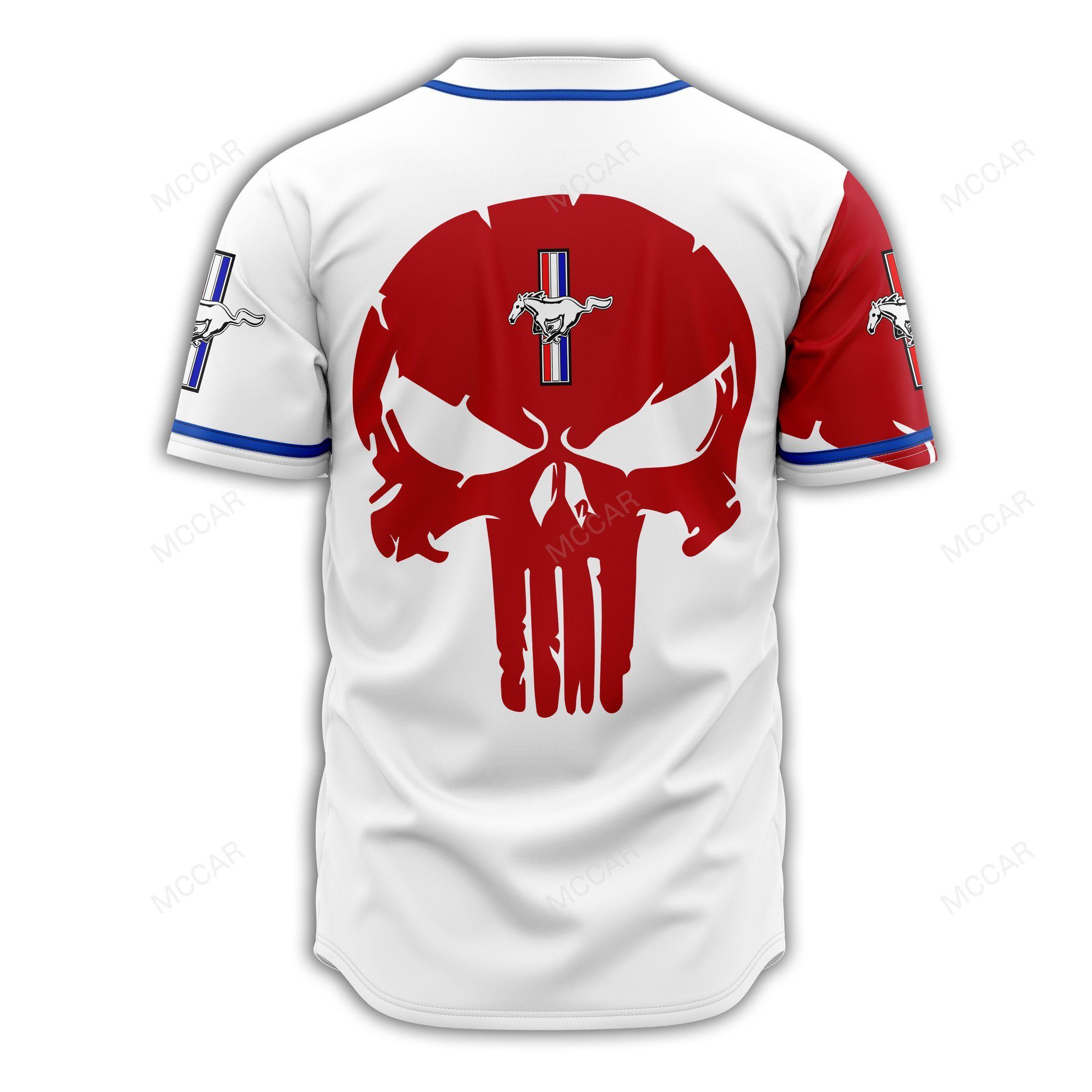 Ford Mustang red skull white Baseball Jersey shirt