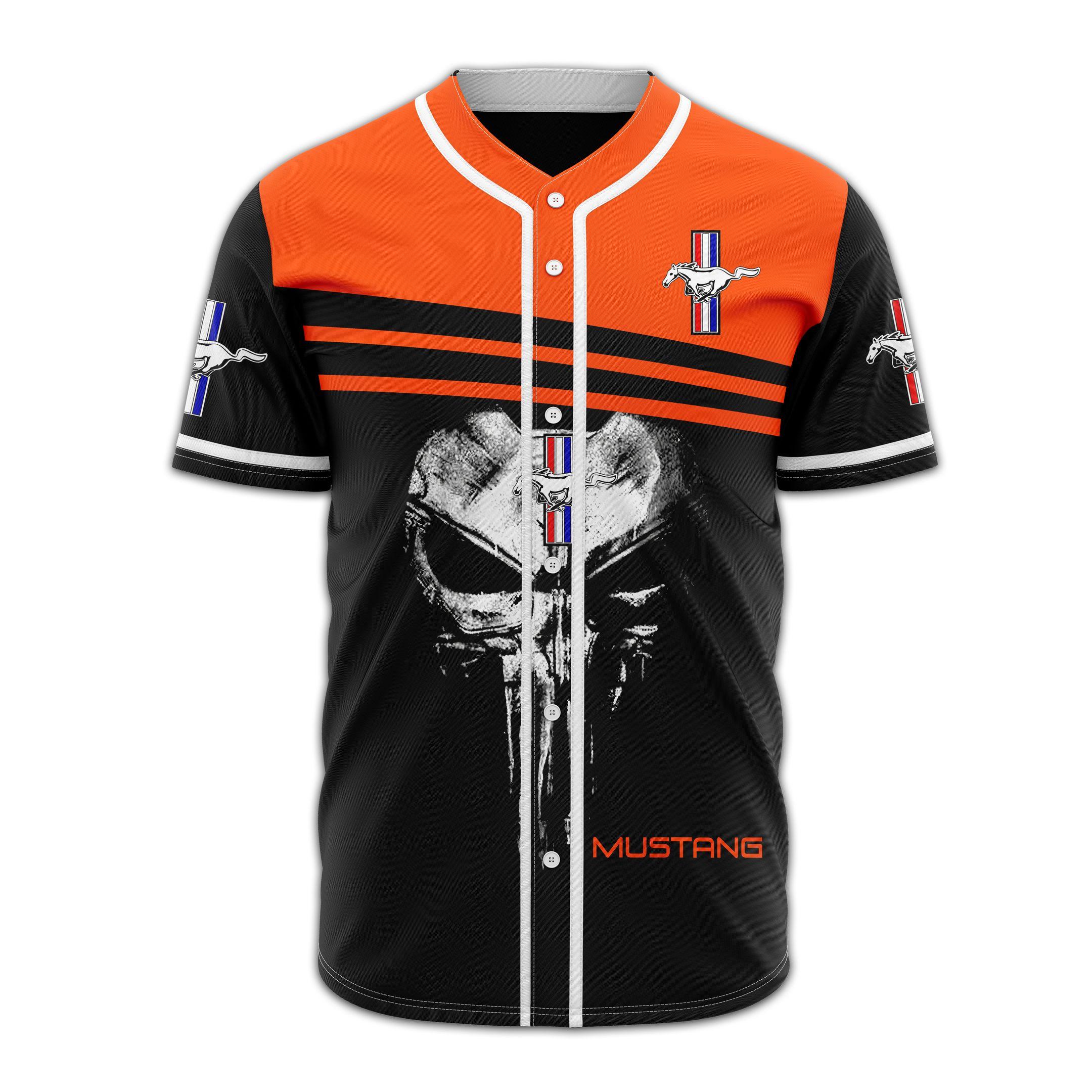 Mustang skull red and orange Baseball Jersey