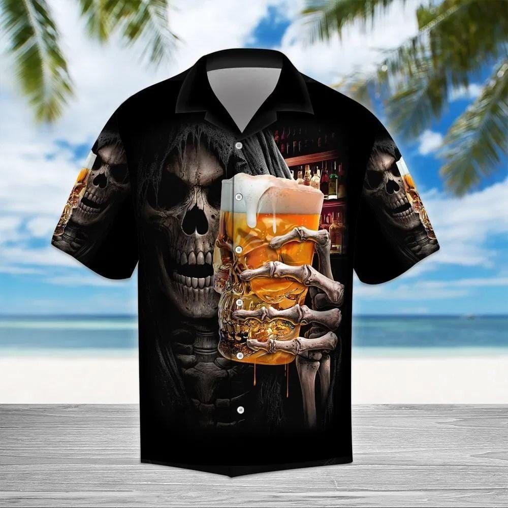Beer Skull Black Hawaiian Shirt Aloha Shirts