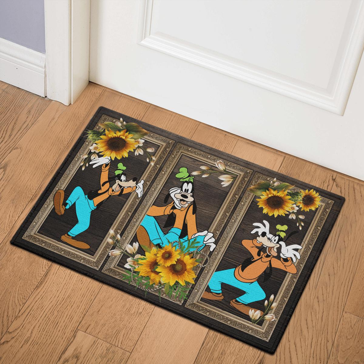 Goofy Sunflower Door Mat Bath Mat