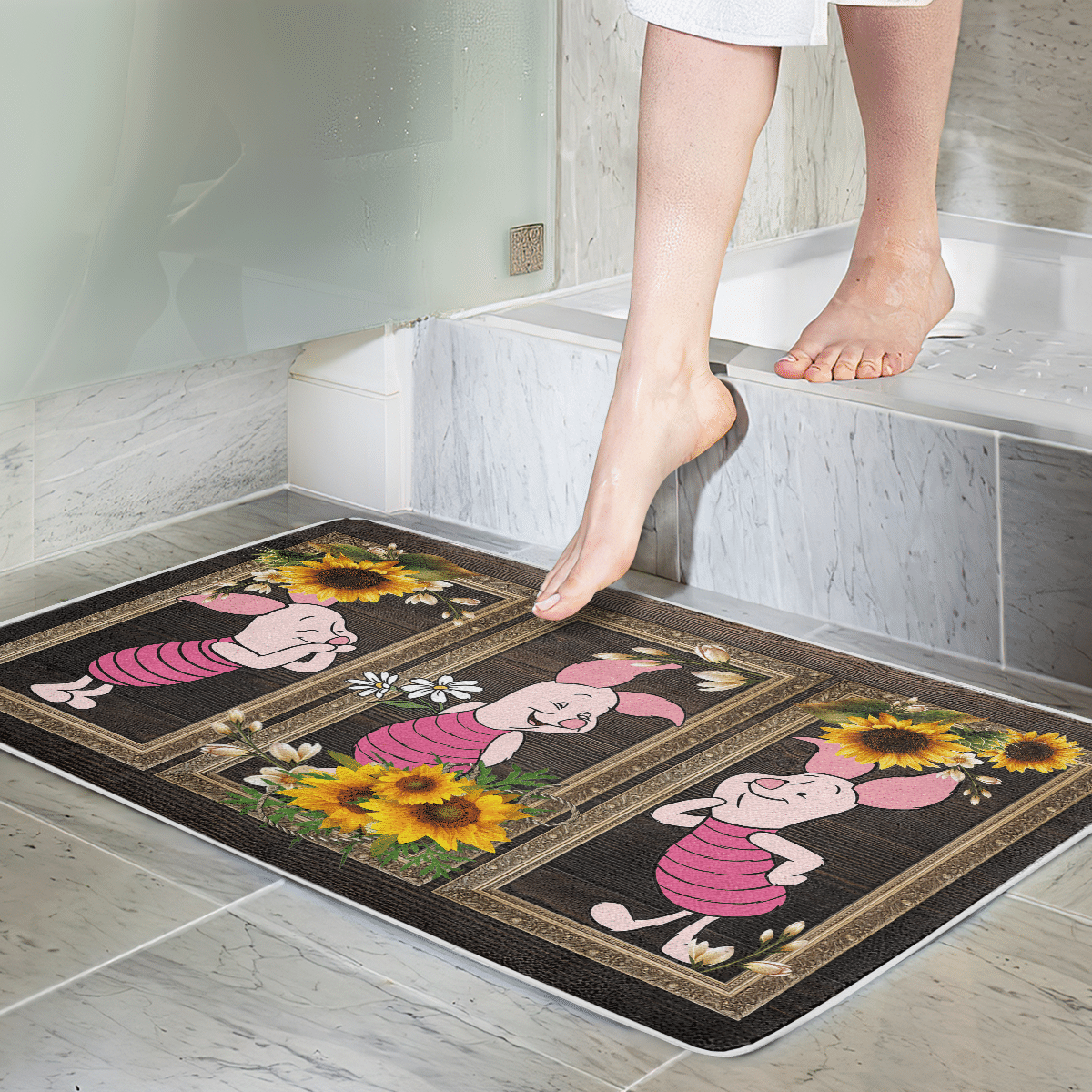 Piglet Sunflower Door Mat Bathroom Mat