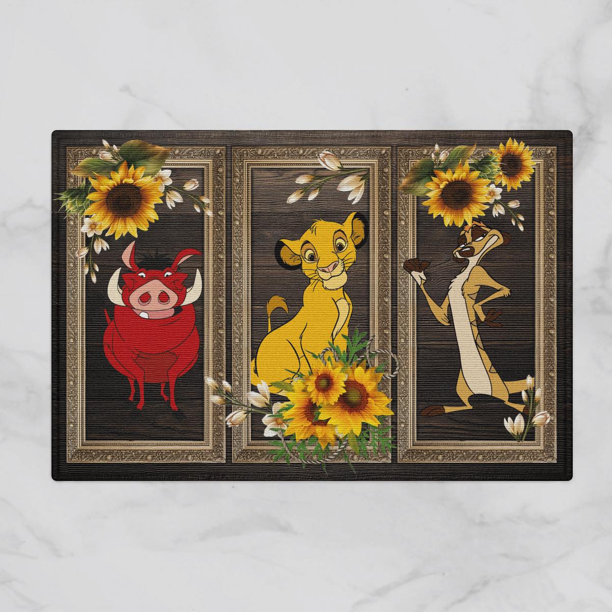 Lion Pumbaa Timon Sunflower Door Mat