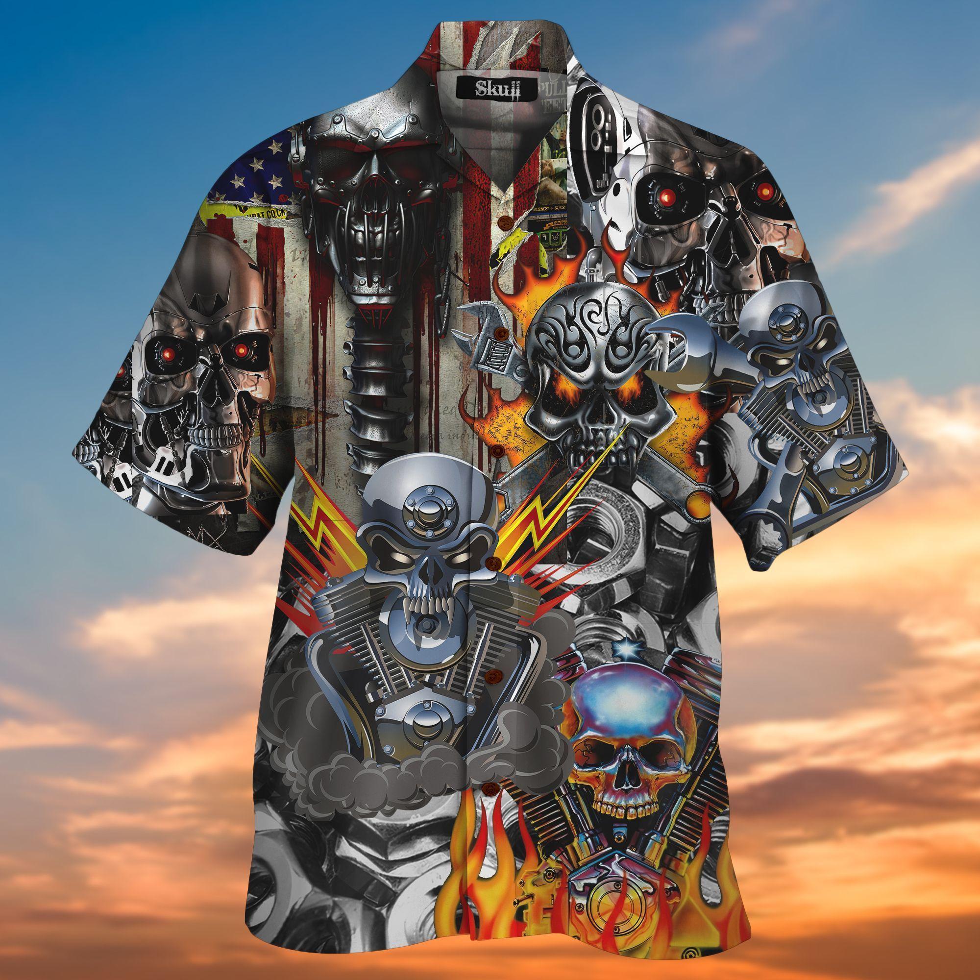 Skull On Fire Machine 3D All Over Printed Hawaiian Shirt