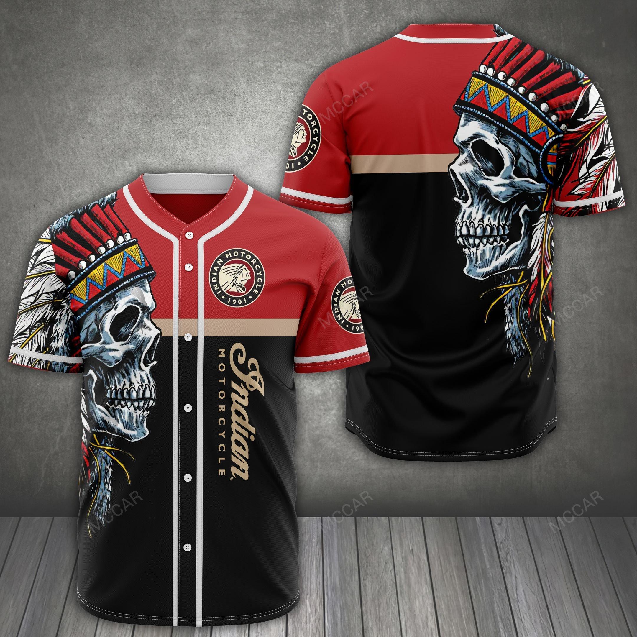 Indian Motorcycle Native American Skull Baseball jersey